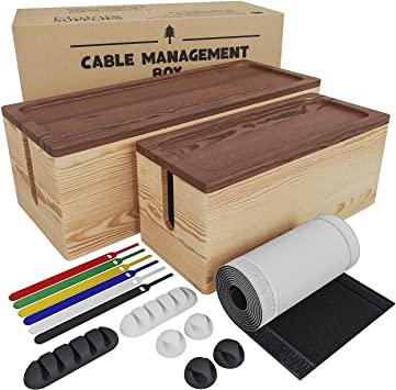 Nature Supplies 2 Cajas Para Organizar Cables Hecha En Madera De Pino 1 Caja Organizadora Mediana Para Escritorio